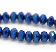 100 Dark Blue AB Color Crystal Glass Faceted Rondelle Beads 6mm